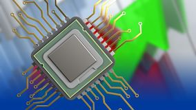 3d of cpu. 3d illustration of cpu over arrows graph background Royalty Free Stock Photography