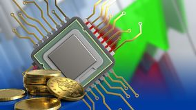 3d of cpu. 3d illustration of cpu over arrows graph background with golden coins Royalty Free Stock Image