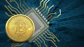 3d of cpu. 3d illustration of cpu over binary background with bitcoin Royalty Free Stock Images