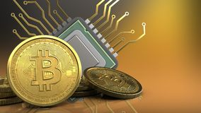 3d of cpu. 3d illustration of cpu over yellow background with bitcoins Stock Photos