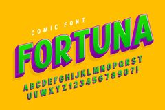 3d création de fonte comique à la mode, alphabet coloré, oeil d'un caractère illustration de vecteur
