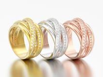 3D cr decorativo de los criss del diamante de diverso oro del ejemplo tres libre illustration