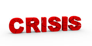3d cracked crisis word. 3d illustration of cracked word crisis Royalty Free Stock Photography