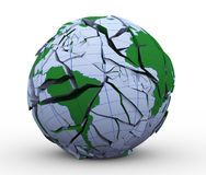 3d cracked globe earth world. 3d illustration of fragmented and cracked globe earth world Stock Photos
