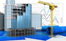 3d of crane. 3d illustration of modern building frame with urban scene over business graph background royalty free stock photography