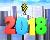 3d crane hook with colorful 2018 sign. 3d illustration of colorful 2018 sign with crane hook over city background Stock Photo