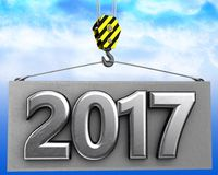 3d crane hook with metal 2017 sign. 3d illustration of metal 2017 sign with crane hook over sky background Royalty Free Stock Images