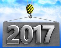 3d crane hook with metal 2017 sign. 3d illustration of metal 2017 sign with crane hook over sky background Stock Photography