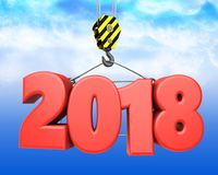 3d crane hook with red 2018 sign. 3d illustration of red 2018 sign with crane hook over sky background Stock Photography