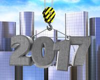 3d crane hook with 2017 sign. 3d illustration of 2017 sign with crane hook over city background Royalty Free Stock Photography