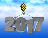 3d crane hook with 2017 sign. 3d illustration of 2017 sign with crane hook over sky background Stock Images