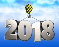 3d crane hook with steel 2018 sign. 3d illustration of steel 2018 sign with crane hook over sky background Royalty Free Stock Photos