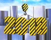 3d crane hook with striped 2018 sign. 3d illustration of striped 2018 sign with crane hook over city background Royalty Free Stock Images