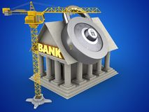 3d crane. 3d illustration of Bank over blue background with code lock and crane Stock Photos
