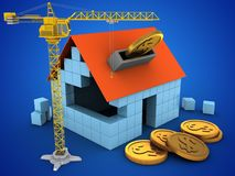 3d crane. 3d illustration of block house over blue background with coins and crane Stock Photography