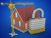 3d crane. 3d illustration of bricks house over blue background with padlock and crane Stock Image