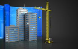 3d of crane. 3d illustration of city buildings with drawing roll over black background Royalty Free Stock Images