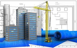 3d of crane. 3d illustration of city buildings with drawings over blueprint background Royalty Free Stock Photos