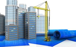 3d of crane. 3d illustration of city buildings with urban scene over white background Royalty Free Stock Image