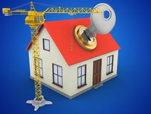 3d crane. 3d illustration of generic house over blue background with key and crane Stock Photo