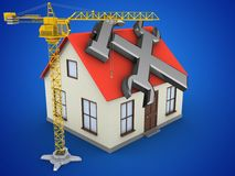 3d crane. 3d illustration of generic house over blue background with repair symbol and crane Stock Image