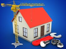3d crane. 3d illustration of generic house over blue background with wrench and crane Royalty Free Stock Image