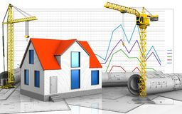 3d of crane. 3d illustration of generic house with crane over business graph background Royalty Free Stock Photo