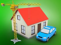 3d crane. 3d illustration of generic house over green background with car and crane Royalty Free Stock Photos