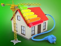 3d crane. 3d illustration of generic house over green background with power ranks and crane Stock Photo