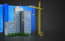 3d of crane. 3d illustration of living quarter with drawing roll over black background Stock Photos