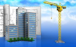 3d of crane. 3d illustration of living quarter with drawings over sky background Stock Photos