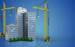 3d with crane. 3d illustration of living quarter with crane over blue background Royalty Free Stock Image