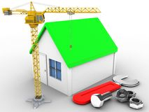 3d crane. 3d illustration of simple house over white background with wrench and crane Stock Photo