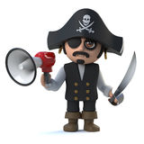 3d Crazy cartoon pirate captain character holding a megaphone Royalty Free Stock Images