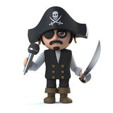 3d Crazy cartoon pirate captain character sings into a micrphone Royalty Free Stock Photography