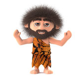 3d Crazy hairy caveman cheers with joy Stock Image