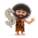 3d Crazy hairy caveman has US Dollar symbol Stock Images