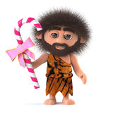 3d Crazy hairy caveman holding a stick of candy Stock Images