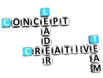 3D Creatieve Conceptenleider Crossword Stock Foto