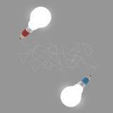 3d creative pencil lightbulb drawing idea Royalty Free Stock Photos