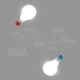 3d creative pencil lightbulb drawing idea Stock Photo