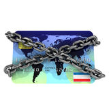 3d Credit card chained. 3d render of a credit card wrapped in chains Royalty Free Stock Photos