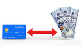 3d credit card and dollar notes exchange concept. 3d render of credit card and dollar notes exchange concept Royalty Free Stock Images