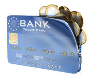 3D Credit card full of euro coins Stock Photos