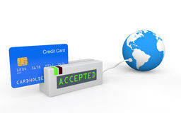 3d credit card global acceptance. 3d render of credit card and scanner with globe depicting global acceptance and business Stock Image