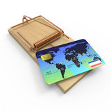 3d Credit card mousetrap Royalty Free Stock Images