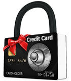 3d credit card security  with red bow Royalty Free Stock Photography