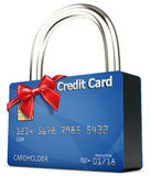 3d credit card security  with red bow Stock Image