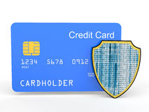 3d credit card with shield. 3d render of credit card with shield Stock Images
