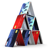 3d Credit card tower Royalty Free Stock Images